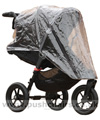Baby Jogger City Elite Black with Rain Cover fitted showing zippered opening - click for larger image