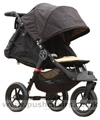 Baby Jogger City Elite Black with seat reclined kicker raised plus Lambskin Stroller Fleece - click for larger image