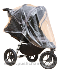 Baby Jogger City Elite Black & Charcoal with Seat Reclined & Rain Cover fitted - click for larger image