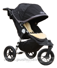 Baby Jogger City Elite Black & Charcoal with Lambskin Stroller Fleece - click for larger image
