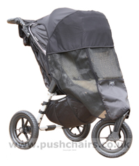 Baby Jogger City Elite Black & Charcoal with Lambskin Stroller Fleece and Shade-a-Babe UV Sun Protection - click for larger image