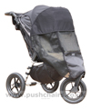 Baby Jogger City Elite Black with Lambskin Stroller Fleece and Shade-a-Babe UV Sun Protection - click for larger image