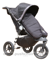 Baby Jogger City Elite Black & Charcoal with Black Outlast Snuggle Bag - click for larger image