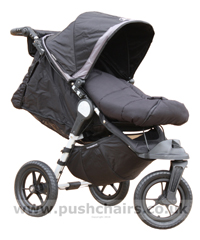 Baby Jogger City Elite Black with seat reclined and Black Outlast Snuggle Bag - click for larger image