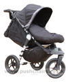 Baby Jogger City Elite Black with seat reclined, kikcer raised and Black Outlast Snuggle Bag - click for larger image