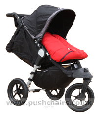 Baby Jogger City Elite Black & Charcoal with Seat Reclined, Kicker Raised and Red Outlast Snuggle Bag - click for larger image