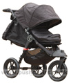 Baby Jogger City Elite Black with Baby Jogger Footmuff Black, seat reclined and kicker raised - click for larger image