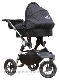 Baby Jogger City Elite Black & Charcoal with Black Carrycot fitted - click for larger image