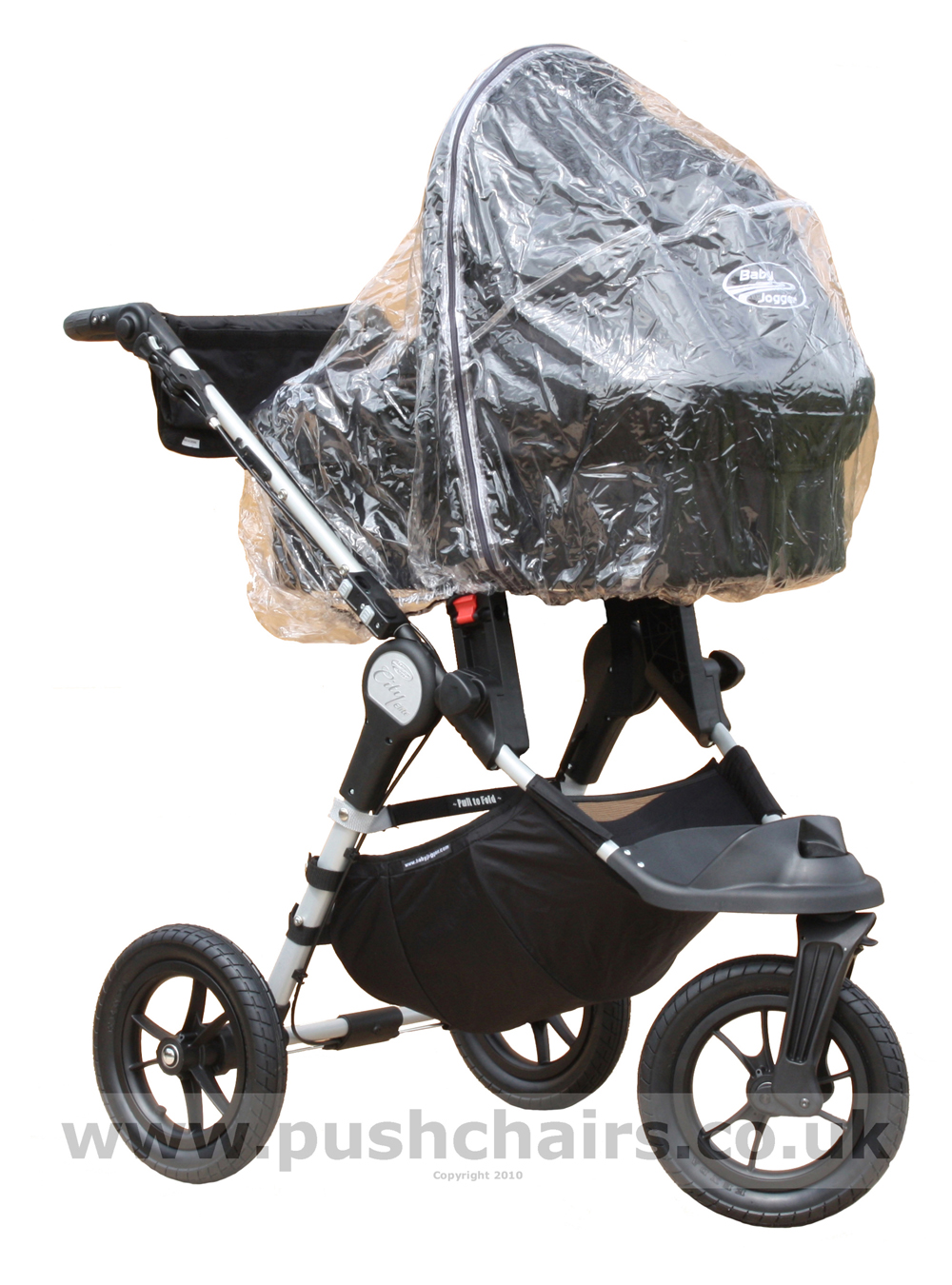 Baby Jogger City Elite Black & Charcoal with Black Carrycot and Rain Cover fitted - click for larger image