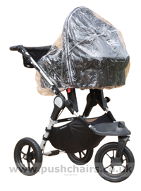 Baby Jogger City Elite Black with Black Carrycot + Rain Cover - click for larger image