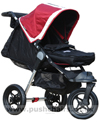 Baby Jogger City Elite Red Sport with Seat Reclined, Kicker Raised and Red Footmuff - click for larger image