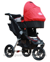 Baby Jogger City Elite Red Sport with Red Carrycot fitted- click for larger image
