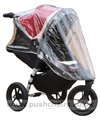 Baby Jogger City Elite Red Sport with seat reclined & Rain Cover fitted - click for larger image