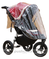 Baby Jogger City Elite Red Sport with seat upright & Rain Cover fitted - click for larger image