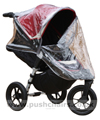 Baby Jogger City Elite Red Sport with seat reclined & Rain Cover fitted showing zippered front open - click for larger image