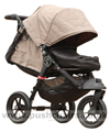 Baby Jogger City Elite Sand with Baby Jogger Footmuff Black, seat reclined and kicker raised - click for larger image
