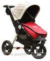 Baby Jogger City Elite Stone with Seat Reclined, Kicker Raised and Red Footmuff - click for larger image