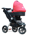 Baby Jogger City Elite Stone with Red Carrycot fitted- click for larger image