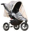 Baby Jogger City Elite Stone with Rain Cover fitted showing zippered opening- click for larger image