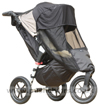 Baby Jogger City Elite Stone with Shade-a-Babe UV Sun Protection showing zippered front opening - click for larger image