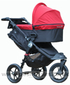 Baby Jogger City Elite Black with Deluxe Carrycot Crimson - click for larger image