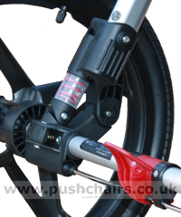 Baby Jogger Summit Rear Wheel Suspension (no load) - click for larger image