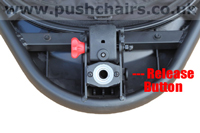 Baby Jogger Summit X3 Front Wheel Release, view from below underneath - click for larger image