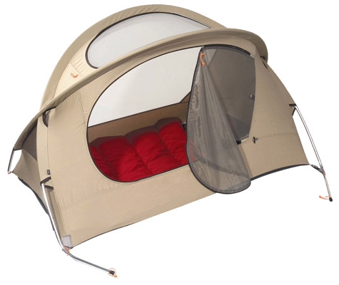 Nomad Travel Bed Sand with optional Red Sleeping Bag - click for a 360 degree 3D Interactive View of the Nomad Travel Bed