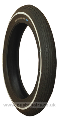 12 1/2 x 1.75 Slim Whitewall Tyre - click for larger image